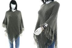Sage Green Shawl Knit Caftan Pullover Shrug Fringe Sweater Free Size