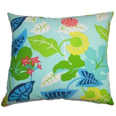 "Bayou Breeze Cole Floral Outdoor Throw Pillow Color: Turquoise, Size: 24"" x 24"""