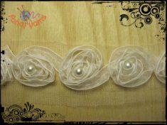 1 metro bordura tulle con rose in organza, mm.25