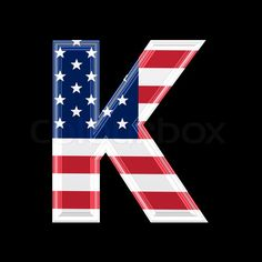 Image of 'us 3d letter isolated on black background - K'
