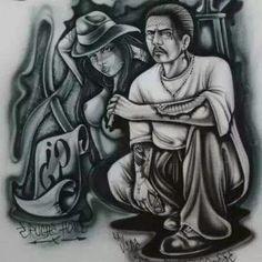 Por mi Haynita.CA. Gangster Drawings, Chicano Drawings, Chicano Tattoos, Chicano Art, Tattoo Drawings, Tattos, Arte Cholo, Cholo Art, Cherub Tattoo Designs