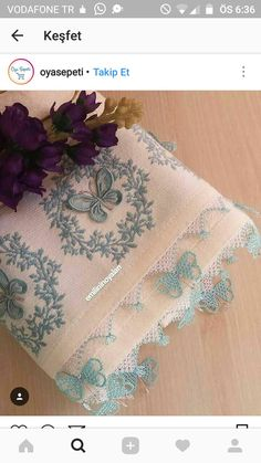This Pin was discovered by Mel Needle Lace, Needle And Thread, Lace Patterns, Crochet Patterns, Beaded Embroidery, Hand Embroidery, Decorative Towels, Luxury Towels, Lace Making