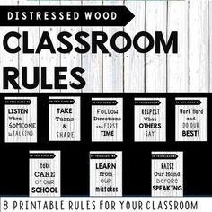 These distressed wood/driftwood (white) classroom posters include 8 important classroom rules and is perfect classroom decor for every room. They add a touch of class/rustic feel to any classroom. Works perfect with country theme, relaxed theme, shabby chic or