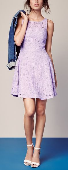 The lace detail balances the flirty cut of this flouncy day-to-night dress.