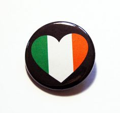Ireland Pin, Pinback buttons, Lapel Pin, I Love Ireland, Ireland Flag Pin, Irelend Heart Pin, Flag of Ireland, Country Pin (5780) by KellysMagnets on Etsy