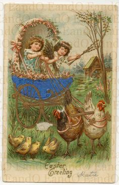 Antique Victorian Easter Card Illustrated and Embossed by EandO, $18.25