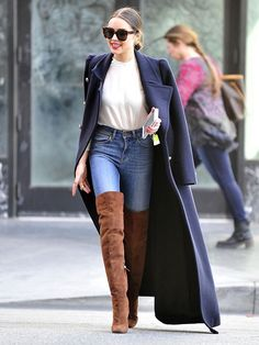 Olivia Culpo | New York | Thigh High Boots | OTK Boots | Over the Knee Boots | Trenchcoat | Denim Jeans | White Tee | Street Style | Fall Fashion | Winter Outfits | Trendy | Edgy | Casual Cute | Date Night   <3 @benitathediva