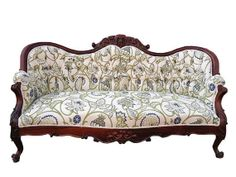 This vintage Victorian Floral sofa is in pristine condition and has been upcycled with this green, blue and soft white floral fabric. This sofa is from the private collection of the owner of Modern Vintage Mix! Victorian Sofa, Victorian Furniture, Antique Furniture, Home Furniture, Furniture Design, Floral Sofa, Floral Furniture, Vintage Sofa, Sofas For Small Spaces