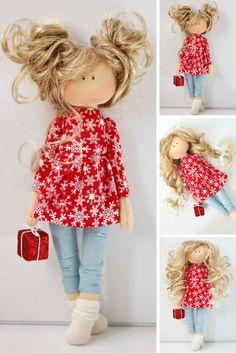 Tilda doll Fabric doll Handmade doll Interior doll Soft doll Textile doll Cloth doll Red doll Christmas doll Rag doll Baby doll by Olesya N