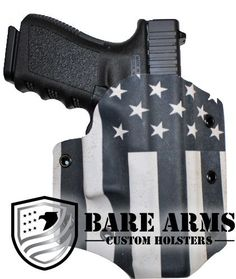 Outside the waistband holster with a Black and White American Flag design. Crossbow Arrows, Crossbow Hunting, Diy Crossbow, Bug Out Gear, Tactical Gear, Tactical Survival, Tactical Firearms, Custom Holsters, Kydex Holster