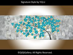 Original Oil Abstract Painting Impasto Landscape by QiQiGallery