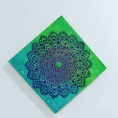 "65 Likes, 6 Comments - DeeTangle Art (@mcdeepti) on Instagram: ""Mandala on 12x12 canvas, acrylics and pens."""