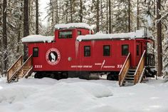 This caboose that zoomed through Essex in 1941 belonged to a Great Northern X215. It has been converted into something really special for this hotel.