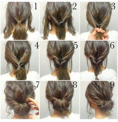Step by step messy bun updo tutorial short to medium length hair