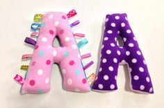 Purple or Soft Pink polka dots, backing of choice. BABY SIZE. Custom stuffed Taggie Letter. Personalized tag toy. Pillow. Nursery Decor. By Mommy Can Sew, on Etsy
