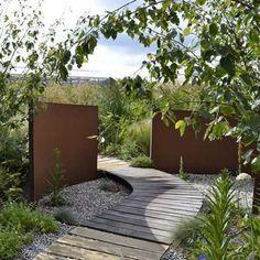 Details about Corten Steel Wall Landscape Feature/Garden Wall Panel Structure Modern Garden Design, Contemporary Garden, Modern Landscaping, Backyard Landscaping, Back Gardens, Outdoor Gardens, Modern Gardens, Corten Steel Garden, Corten Steel Planters