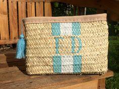 Monogrammed straw clutch, personalized clutch, customized straw pouch…