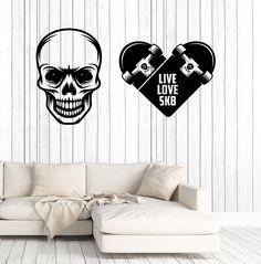 c303a7692620 Wall Vinyl Decal Skull Skateboard Words Live Love SK8 Ska-Punk Decor Unique  Gift z4790