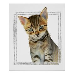 Tabby Kitten Painting with Faux Marble Frame Poster - baby gifts child new born gift idea diy cyo special unique design