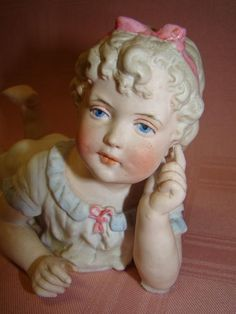 8 In. Quality + Bisque German Piano Baby Girl, Inscribed #484
