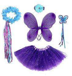 nice 6 Pc Girls Dark Purple u0026 Teal Fairy Set with Wings Headband Halo  sc 1 st  Pinterest & nice Girls Fairy Costume with Wings Tutu Wand u0026 Halo Fits Age 2-7 ...