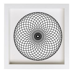 """Our framed Spherical Motion print comes ready to hang. The frame has a clean, modern style with an optional white, acid-free mat. It sits nicely on a wall with a chunky 1¾"""" depth. The art is set deep"""