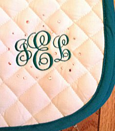 Check out this item in my Etsy shop https://www.etsy.com/listing/261123961/personalized-custom-monogram-saddle-pad