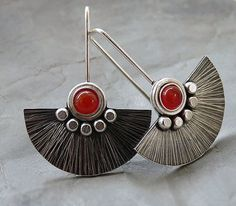 Sterling Silver Fun Earrings with Carnelian - Sterling Silver Jewellery - Textured - Gemstone Earrings - Handcrafted Jewellery