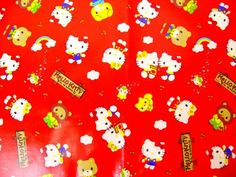 Hello kitty laminated vinyl cotton fabric red color Half yard Japanese fabric - a raincoat for the little girl one day? Or is this way too loud?