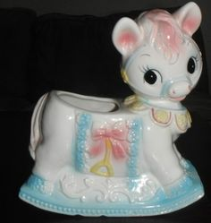 Vintage Ruben's Originals Rocking Horse baby / nursery planter.
