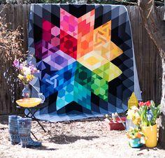 Robert Kaufman Gravity Block of the Month Quilt Kit - good up close photos of quilting