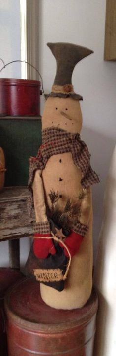 Primitive snowman designed and handmade by Seasonal Prims