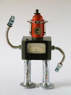 https://flic.kr/p/aJreK | RPM robot | RPM old GE rpm tester, pressure regulator, gas flex line arms and legs fashioned from lights that flash.