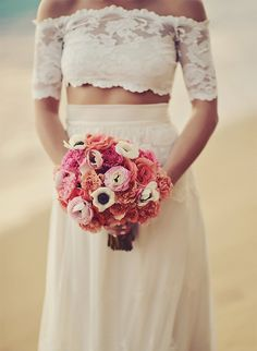 Oceanfront Puerto Rico Wedding - Inspired By This // Non-traditional but totally gorgeous crop top wedding dress