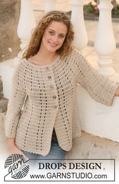 "Crochet DROPS jacket in ""Muskat"" with 3/4 sleeves. Size S - XXXL. ~ DROPS Design"