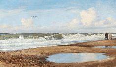 Christian Blache: Sommerdag på en strand. Sign. Chr. Blache 1898. Olie på lærred. 34 x 57.