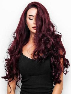 Dressing yourself with our designer Stylish The Daily Wigs and make you look like stylish and fashion.Red Red Wine Synthetic Lace Front Wigs is your best choice. Long Face Hairstyles, Trending Hairstyles, Wig Hairstyles, Hairstyles 2018, Hot Hair Colors, Cool Hair Color, Deep Red Hair Color, Natural Hair Styles, Short Hair Styles