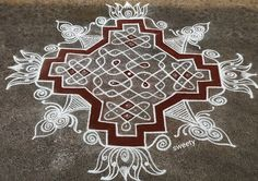 Padi Kolam, Kolam Rangoli, Simple Rangoli, Beautiful Rangoli Designs, Kolam Designs, Muggulu Design, Floor Art, Dots, Board