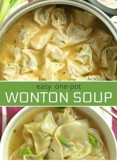 This homemade one-pot easy Wonton Soup is filled with a juicy pork and shrimp filling. It's a comforting soup recipe that will knock your socks off. *used lb ground pork, shrimp, 3 tsp mirin, 3 tsp soy sauce, 1 tsp cooking rice wine Slow Cooker Soup, Slow Cooker Recipes, Cooking Recipes, Cooking Bacon, Cooking Chef, Cooking Broccoli, Cooking Rice, Cooking Games, Cooking Classes