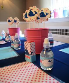 Love place mat settings for kids  - Whales for a snack and decorative water bottles and juice boxes!