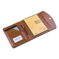 Compact Leather Workshop Folio for Apple iPad Mini, Fits Junior Legal Paper, Brown   iCarryalls Leather Fashion
