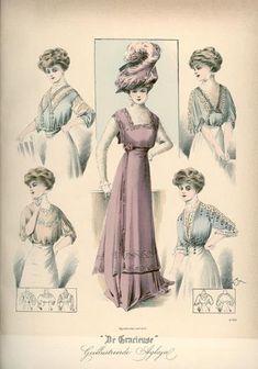 De Gracieuse, November 1908, Edwardian Fashion Plate, hair, hat and shirtwaist or blouse