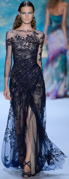 Monique Lhuillier Spring Summer 2013 navy lace evening dress