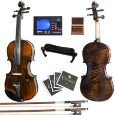 Mendini FLAMED 1 Piece Back with Ebony Fittings w/ Tuner, Bow, Shoulder Rest, Rosin & Extra Set of Strings Sale price is $199.00