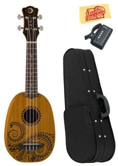 """Luna Tattoo Soprano Ukulele Bundle with Hardshell Case, Tuner, and Polishing Cloth by Luna. $109.00. Bundle includes Luna Tattoo Soprano Ukulele, Hardshell Case, Tuner, and Polishing Cloth.Luna's 21"""" Tattoo Soprano pineapple ukulele takes its design from traditional hawaiian body ornamentation. The designs were monochromatic, tattooed in black against brown skin. The patterns and layout were strongly geometric and there were many shapes and symbols which repres..."""