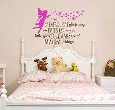 Items similar to Fairy Phrase Nursery Bedroom Wall Decal Fairies and Stardust - Removable Vinyl on Etsy Fairy Nursery, Fairy Bedroom, Nursery Decor, Bedroom Decor, Nursery Room, Nursery Ideas, Big Girl Bedrooms, Little Girl Rooms, Girls Bedroom