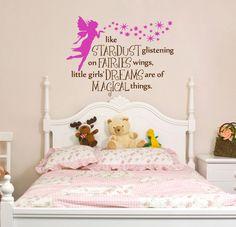 Fairy Phrase Nursery Bedroom Wall Decal Fairies and Stardust - Removable Vinyl. $35.00, via Etsy.