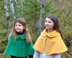 Girls Cape Woodland Fairy Capelet Yellow Gold by SewnNatural