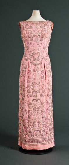 Sheath Dress, Pedro Rodriguez: ca. 1965, faille lavishly embellished with all-over floral and scroll motif embroidery using seed beads, rhinestones, pearls and sequins.