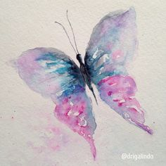 Copyright by Adriana Galindo - Borboleta / Butterfly by Adriana Galindo. aquarela/watercolor, 15 x 21 cm. commission: drigalindo1@gmail.com